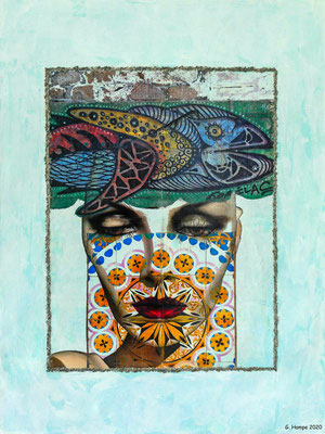 The fish, the face and the azulejos 60x80x4 Leinwand