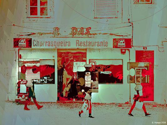 Passing the restaurant