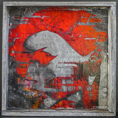 The red eye on wood 20 x 20 cm