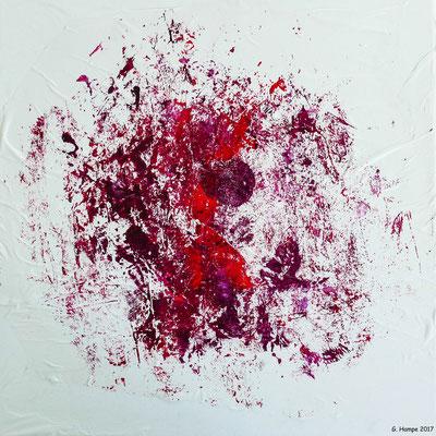 Red abstract chaos 1 Leinwand 30x30x4 cm ausgestellt in Mein Wohnstudio