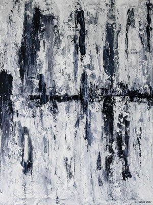 Abstract art in grey, black and white 80x100x2 cm Leinwand