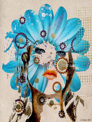 Blue flower woman