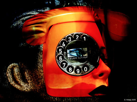 The woman and the orange phone