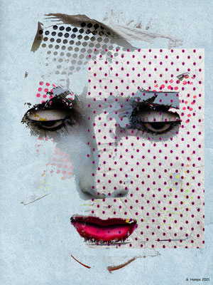 The face with pink dots