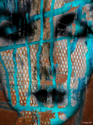 The face with cyan blue stripes