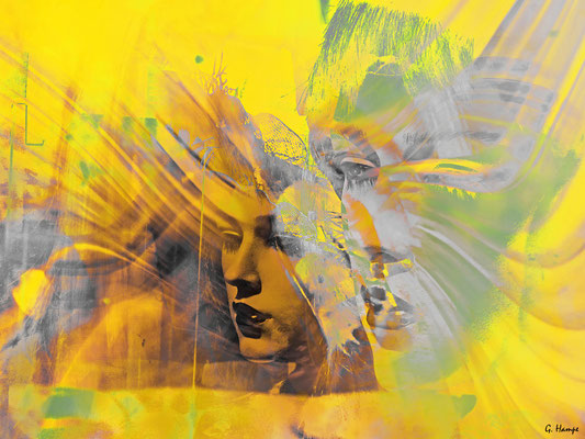 Two faces in yellow and grey Acryl 90x68
