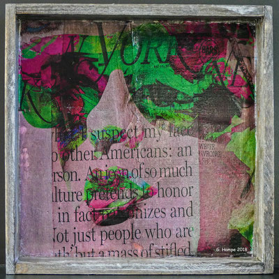 Feeling green and pink on wood 20 x 20 cm
