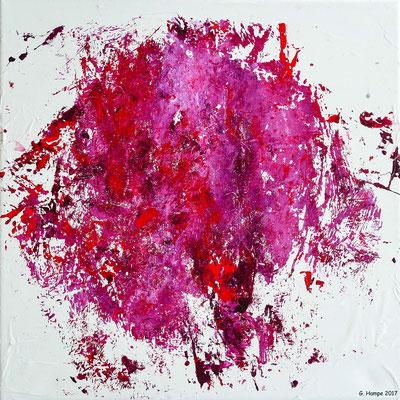 Red abstract chaos 2 Leinwand 30x30x4 cm ausgestellt in Mein Wohnstudio