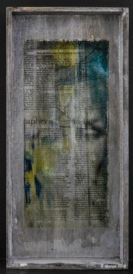 Inside the newspaper on wood 18 x 39