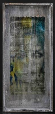 Inside the newspaper on wood 18 x 39
