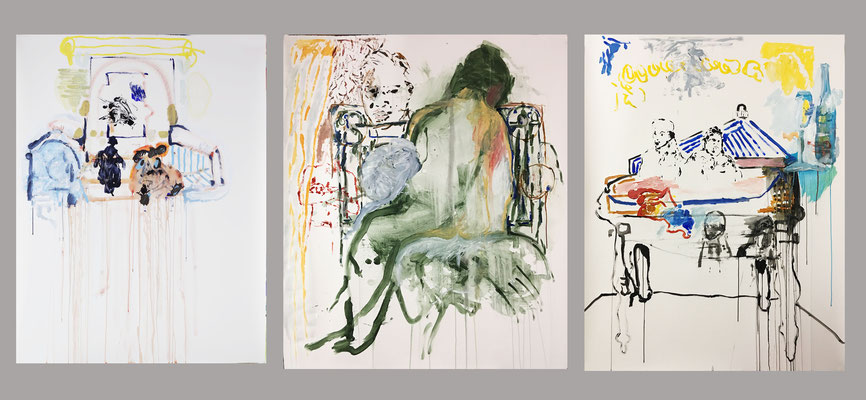 Triptych:Chair,Bed,Table/approx. 150x 300cm