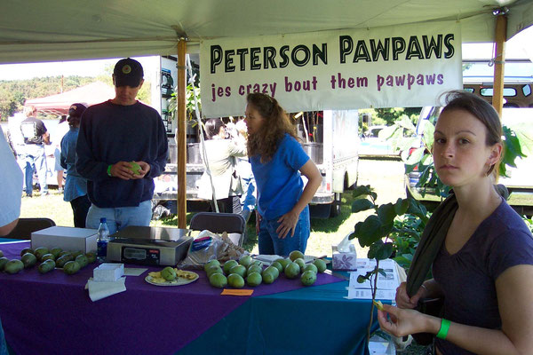 Selling Peterson Pawpaws at the farmers market