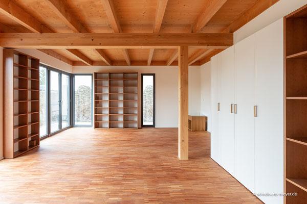 Einrichtung Wohn- und Esszimmer in Kirschbaum furniert