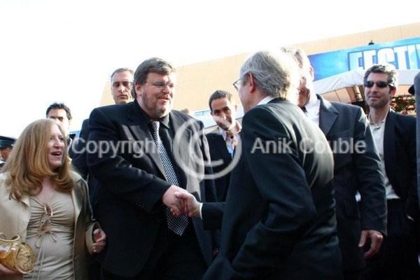 Michael Moore et Ken Loach 2006 / Photo : Anik Couble