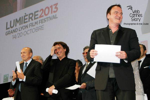 Gérard Collomb, Jean-Michel Jarre, Daniel Auteuil et Quentin Tarantino - Festival Lumière - Lyon - Oct 2013 - Photo © Anik COUBLE