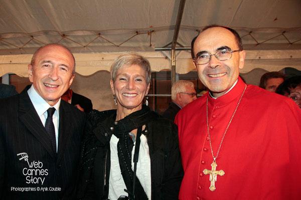 Gérard COLLOMB et le Cardinal Philippe BARBARIN en compagnie de Pascale MILLET- Lyon - 08 09 2013  - Photo © Anik COUBLE