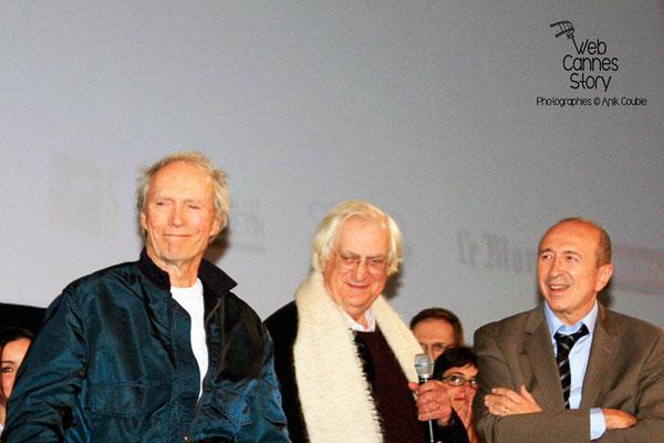 Gérard COLLOMB, Clint EASTWOOD et Bertrand TAVERNIER - Lyon - Festival Lumière 2009 - Photo © Anik COUBLE