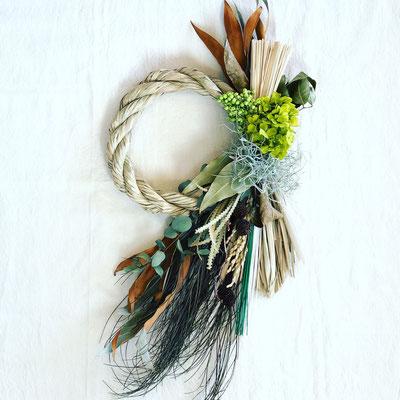 12月 長野 飯田1dayレッスン『しめ縄お正月飾りーナチュラルグリーンー』作り