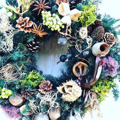 11月 東京 表参道1dayレッスン『フレッシュグリーンのクリスマスリース』作り