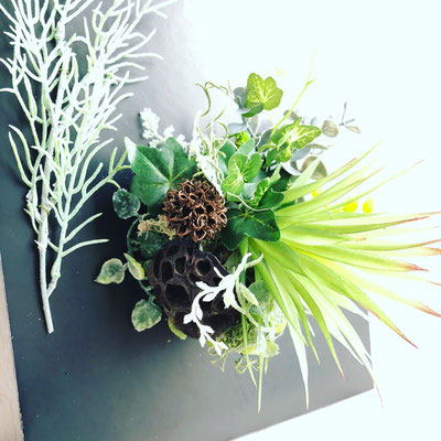 2018年4月 長野 飯田1dayレッスン『フェイクグリーンを使ったインテリアボード』作り