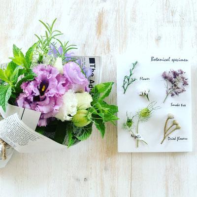 5周年イベント ワークショップ「ハーブと花のミニブーケ」&「ミニ植物標本」作り