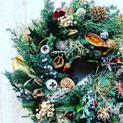 11月 オンライン1dayレッスン『フレッシュグリーンのクリスマスリース』作り