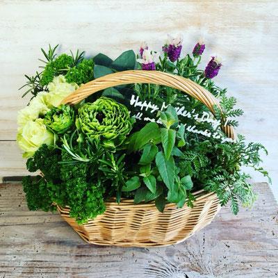 母の日ギフト2018 「ハーブと花のグリーンバスケット」