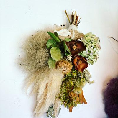 9月 オンライン1dayレッスン『パンパスグラスの秋色スワッグ』作り