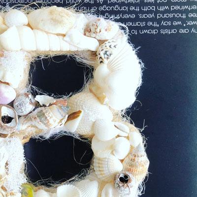8月  長野 飯田1dayレッスン お好みのアルファベットで作る『貝がらのイニシャルリース』作り