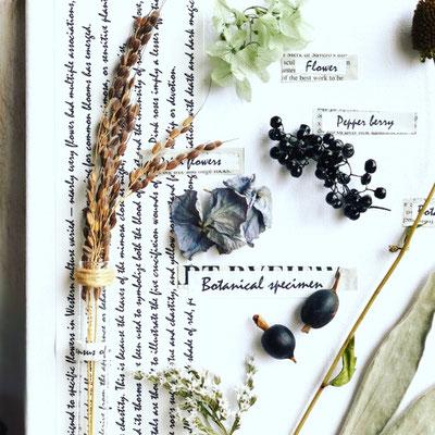 2018年10月 長野 飯田1dayレッスン『植物標本〈キャンバス〉』作り