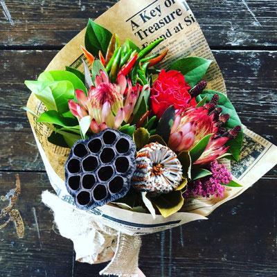 2018年10月 長野 飯田1dayレッスン『ドライフラワーになる花束』作り