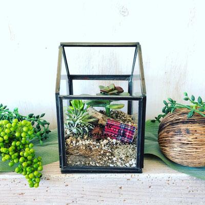 2018年3月長野 飯田1dayレッスン『多肉植物&エアプランツのHouse型テラリウム』作り