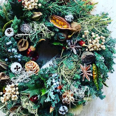 11月 長野 飯田1dayレッスン『フレッシュグリーンのクリスマスリース』作り