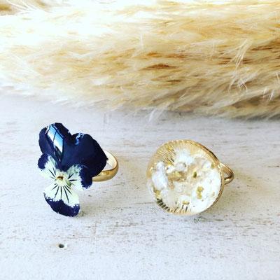 『お花のアクセサリー作り』ワークショップ/かすみ草のドームリング・ビオラのリング