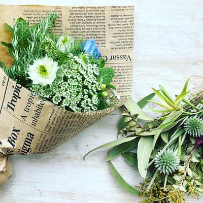 6周年イベント ワークショップ「ハーブと花のミニブーケ」&「ミニスワッグ」作り
