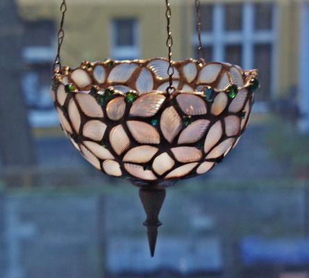 Opalfarbige Blätter - Kerzenschale - Kerzenampel - 180,-