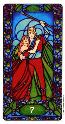 7 de Bâtons - Le tarot Art Nouveau de Myers