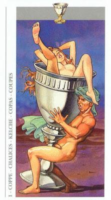 Decameron Tarot - Érotique - As de Coupes