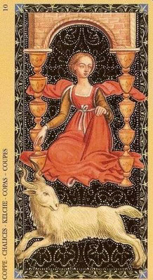 Golden Tarot of the Renaissance - 10 de Coupe
