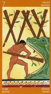 7 de Bâtons - Le tarot Étrusque