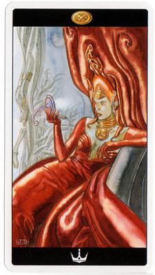 Reine de Deniers - Le tarot de l'Enchanteresse des Rêves
