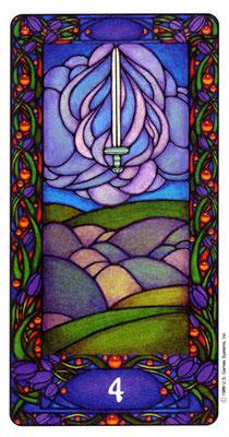 4 d'Épées - Le tarot Art Nouveau de Myers