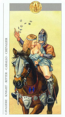 Decameron Tarot - Érotique - Cavalier de Deniers