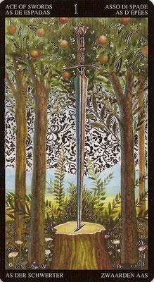 As d'Épées - Tarot Doré de Botticelli