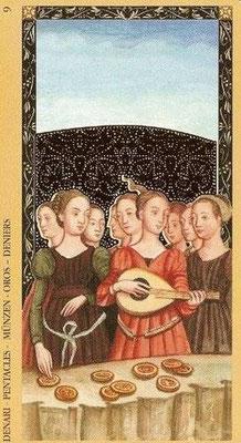 Golden Tarot of the Renaissance - 9 de Denier