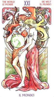 XXI Le Monde - Le tarot Art Nouveau