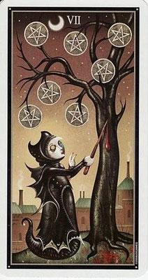 7 de Pentacles - Le tarot Deviant Moon