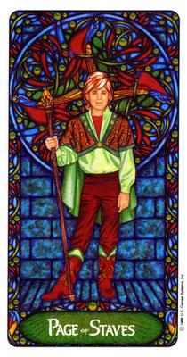 Page de Bâtons - Le tarot Art Nouveau de Myers