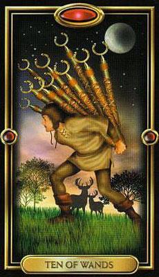 10 de Bâtons - The Gilded Tarot