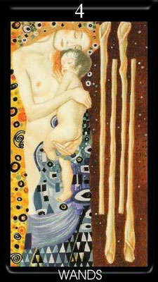 4 de Bâtons - Golden Tarot of Klimt